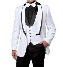 Ties For Cheap UK - White Wedding Tuxedos Slim Fit Suits For Men Groomsmen Suit Three Pieces Cheap Prom Formal Suits (Jacket+Pants+Vest+Tie) 104