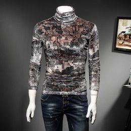 $enCountryForm.capitalKeyWord NZ - Vintage Royal T Shirt Men Luxury Velvet Slim Fit Designer Print Tshirt Homme Playeras De Hombre Plus Size 4xl Club Clohing Nice