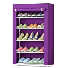pink flocked fabric Canada - 5-Tier Shoe Rack 15 Pairs Shoes Storage Organizer Cabinet with Dust-proof Moisture-proof Non-woven Fabric Cover Space-saving