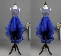 $enCountryForm.capitalKeyWord Australia - Royal Blue Hi Lo Homecoming Short Prom Dresses 2020 Beaded Sequin Jewel Cap Sleeve Tulle Cocktail Party Graduation Formal Dress Gowns Cheap