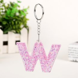 handbag pearl keychain Canada - 1PC Keyring English Letter Keychain 26 English word Glitter Resin A TO Q Handbag Charms for Woman Custom Made Welcome
