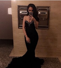 Strapless Short Blacks Dress Long Back NZ - Beautiful Black Beaded Prom Dresses Sweetheart Strapless Sweep Train Plus Size Formal Evening Gowns Zipper Back Fitted Cheap robes de soirée
