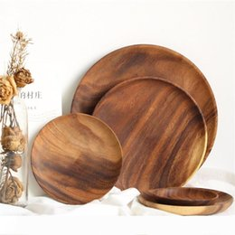 wholesale snack plates NZ - B Wooden Circular Fruit Dishes No Paint Dry Fruits Saucer Cake Snack Plate Home Restaurant Small Dish