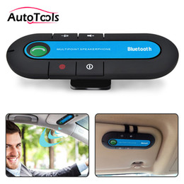 wholesale bluetooth handsfree car kit Australia - 50pcs lot High Quality Wireless blueooth Car kit Bluetooth V4.1 Handsfree Speaker can support two phones car-styling kit