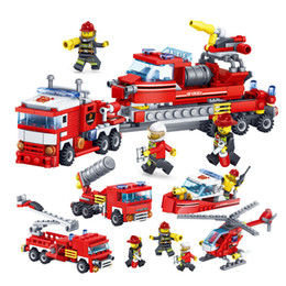 $enCountryForm.capitalKeyWord Australia - 348pcs Fire Fighting 4in1 Trucks Car Helicopter Boat Building Blocks Compatible legoing city Firefighter figures children Toys