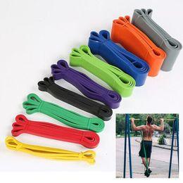 Fitness caoutchouc des bandes de résistance unisexe bande 208 cm Yoga Athletic Bandes élastiques Boucle Expander pour l'équipement sportif exercice en Solde