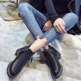 female boot sole Australia - Hot Sale-New British Wind Martin Boots Female Thick with Thick Sole Boots Students Round Head Plus Velvet Warm Boot Shorts