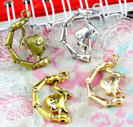 $enCountryForm.capitalKeyWord Australia - 40pcs 26.5*17.1MM Antique bronze gold silver tooth fairy charms for bracelet vintage metal pendant for earring handmade DIY jewelry making