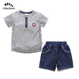 Baby Pant Coat Dress Australia - New 2019 summer Kids clothes boy set Children set Casual strip t shirts + short Pants cotton dress baby boys clothing sets 1-5 Y