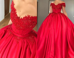 purple sweet sixteen dresses NZ - Modest Off Shoulder Red Ball Gown Quinceanera Dresses Appliques Beaded Satin Corset Lace Up Prom Dresses Sweet Sixteen Dresses m503