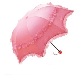 $enCountryForm.capitalKeyWord Australia - Black Coating Lace Women Sun Rain Umbrella Girls Creative 3 Folding Adults Children Princess UV Protection Parasol Decoration