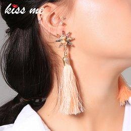 $enCountryForm.capitalKeyWord Australia - New Long Pink Rope Tassel Dangle Earrings Chic Crystal Cultured Pearl Flower Earrings For Women Fashion Jewelry