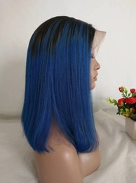 ombre hair black blue 2019 - 1B Blue Ombre Wigs Glueless Lace Front Short Bob Wig 150% Straight Raw Indian Human Hair Full Lace Wig For Black Women P