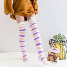 34c0dc01a60 2018 winter ladies coral velvet over knee socks Japanese cute cartoon thick  long tube home floor socks female socks women