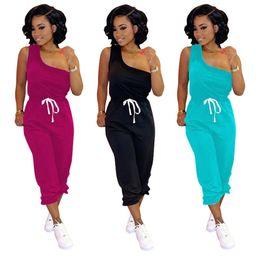 Wholesale one piece outfit pants resale online – Women Designer Tanks Leggings Piece Set Tracksuit Sleeveless Capris Jogging Suit Plus Size One Shoulder Sportswear S XL Outfits