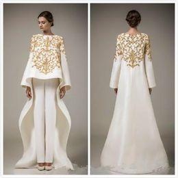 Long poet sLeeve evening dresses online shopping - 2019 New Dubai Arabic Dresses Embroidery Stain Evening Dresses With Long Sleeve Middle East Prom Dress Coat Trousers Vestido de festa