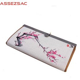 Wholesale Assez sac Wallet Chinese Style Wallet Women National long Cotton Fabric Wallets Landscape Girls like hand Painted Purse A4657 j