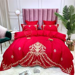 king sized bedding sets Canada - Luxury Embroidery Egyptian Cotton Bedding Set Duvet Cover Bed sheet Bed Linen Pillowcases king queen size