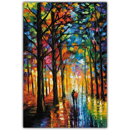 Oil Paint Abstract Forest Hd Australia - Landscape Wall Art Picture Canvas Printed Oil Painting for Living Room Home Decor Forest Avenue Frameless HD Quality