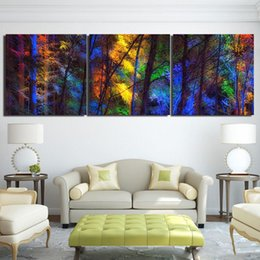 forest figures NZ - Canvas Paintings Printed 3 Pieces Colorful Forest Trees Wall Art Canvas Pictures For Living Room Bedroom Home Decor