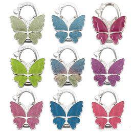 $enCountryForm.capitalKeyWord UK - Table Hook Hang Bag Holder Bag Parts & Accessories Scrub Folding Shining Handbag Purse Bag Hanger Butterfly Pattern