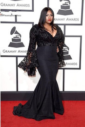 Grammy Awards Plus Size Celebrity Evening Dresses Long Sleeves Jazmine  Sullivan Sequins Prom Dress Black Lace Mermaid Sexy Gowns 71ed8a32bcd4