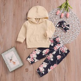 Hooded Headband Australia - good quality Fashion winter clothes for baby 3PCS clothing set Toddler Kids Baby Long Sleeves Hooded Top+Pants+Headbands jongens kled