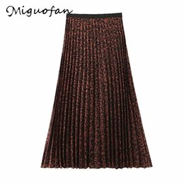 Punk leoPard Print online shopping - Miguofan Women Skirts Leopard print Pleated skirts Vintage Streetwear high waist Punk office long for female autumn