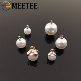crafting buttons Australia - Meetee 8 10 12 14mm Pearl Shirt Buttons Resin Alloy Pendant Decor for Sewing Clothing Jewelry Pendant Bow Craft Accessories