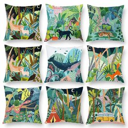 $enCountryForm.capitalKeyWord Australia - Jungle Tree Palm Leaf Leopard Tiger Cushion Covers Wild Life Watercolor Painting Soft Throw Pillow Cover 45X45cm Sofa Chair Decoration