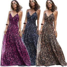 26747c1f86 Leopard Print Sexy Women Long Dress Strap Christmas Evening Party Dress  Elegant Sleeveless V-neck Maxi Floor Length Dress 2018