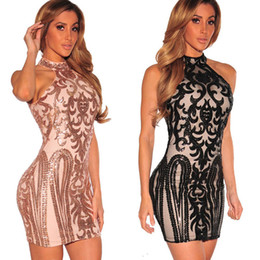 Wholesale sexy midi prom dresses for sale – plus size Designer Women Sexy Halter Backless Sequined Pencil Midi Dress Bandage Prom Party Dance Club Dress