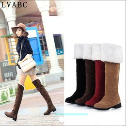 3042dd1cd55 Hot Quality Womens Boots Faux Suede Over the Knee Flat Warm Boots  Comfortable Thigh High Lace-up Woman Winter Shoes34-43
