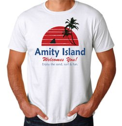 Best Cotton For T Shirts Australia - Amity Island Shark Attack Jaws Cult Classic Movie Inspired 70's 80's New T-Shirt Tees Shirt For Men Best Design Short Sleeve Crewneck Cotton