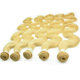 Wholesale Blonde Human Hair Weave Australia - Blonde Indian human hair bundles 3 4 5pcs body wave 613 blond remy hair weft grade 10A unprocessed natural straight raw hair weaves