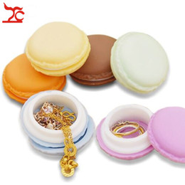 macaron boxes NZ - Jewelry Case Cute Design Macaron Small Box Stud Earrings Mini Jewelry Box Ring Organizer Box Random Mixed Color