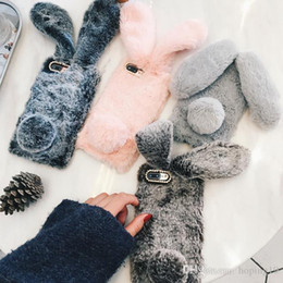 3d Bunny Cases Australia - For iPhone 7 8 Xr phone case 3D Cute Rabbit Hairy Warm Fur Cover for iPhone 5S 6S Xs MAX Bling Rhinestone Plush Bunny For Girls