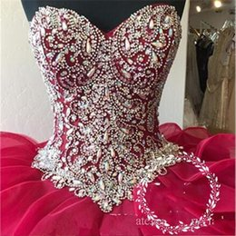 Quinceanera dresses color fuchsia online shopping - Sparkle Crystal Rhinestone Quinceanera Dresses Tiered Cascading Ruffles Ball Gown Fuchsia Organza Sweet Dress Pageant Gowns