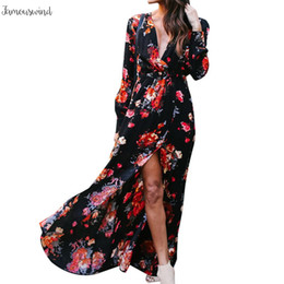bohemian beige maxi dress Australia - Plus Size 3Xl Dress Women Summer Long Sleeve Boho Casual Party Dress Bohemian Dresses Beach Floral Print Maxi Long Dress