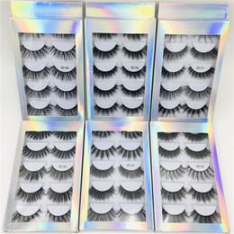 $enCountryForm.capitalKeyWord Australia - Hot selling best price 5 Pair Natural Thick synthetic Eye Lashes Makeup Handmade Fake Cross False Eyelashes with Holographic Box