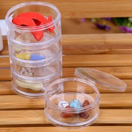 China 7x7x13.5cm Transparent Plastic Cosmetic Storage Containers Minerals Display Clear Makeup Stackable Small Jar 5 layer LX7218 suppliers