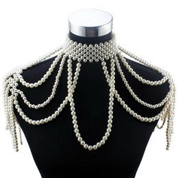 pearl choker necklace costume Australia - Florosy Long Bead Chain Chunky Simulated Pearl Necklace Body Jewelry For Women Costume Choker Pendant Statement Necklace New MX190730