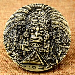 Aztec Coin Wholesalers Australia - GLSY Maya Calendar Bronze Coin Souvenir Manyan Aztec Badge Gift New Maya Big Medal 80x10mm Gifts