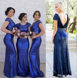 c5b2b1c7cd8 New Arrival Sequins Bridesmaids Dresses Summer Boho Beach Backless Short  Sleeve Maid of Honor Gowns Mermaid Cap Sleeve Wedding Guest Gowns