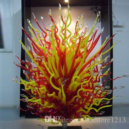 Luminária de pé Em Pé Vermelho e Amarelo Escultura De Vidro Moderna Escultura De Vidro De Murano 100% Soprado Vidro Escultura De Jardim venda por atacado