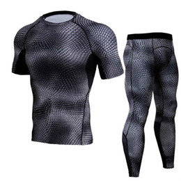 $enCountryForm.capitalKeyWord Australia - Running Set Men Compression Shirt+Pants Skin Tights Short Sleeves TShirts Leggings Mens Jogging Suits Gym Fitness 2pcs Sets