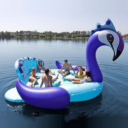Wholesale Fits Seven People 530cm Giant Peacock Flamingo Unicorn Inflatable Boat Pool Float Air Mattress Swimming Ring Party Toys boia