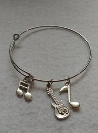 China Expandable Wire Bangle Bracelets Guitar Musical Note Charm Bracelets Fashion DIY Jewelry Friendship Gift Bangle Bracelet Accessories cheap guitar wiring suppliers