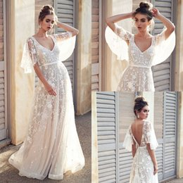 Drop Waist Lace Wedding Dresses Straps Australia - Designer Bohemian Wedding Dresses Hippie Lace Kr Country Low Back Bridal Dresses Bat Sleeve Summer Beach empire waist 2019 Long Vintage Gown