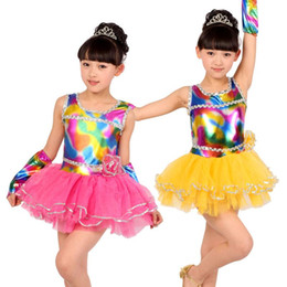 Wholesale rainbow woman costume online – design 2019 Hot Pink Yellow Child Kids Girl Cheap Ballroom Tango Salsa Samba Rumba Dance Costumes Rainbow Latin Dance Dresses